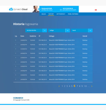 comarch cloud UI