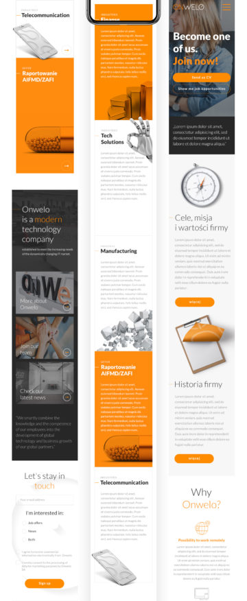 Projekt serwisu www dla Onwelo wykonany przez ROXX Media